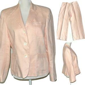 Lauren Ralph Lauren 100% Linen Pink Suit Blazer